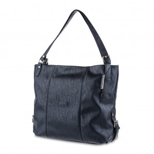 Women's Oversized Side Buckle Detail Tote Shoulder Bag - Black