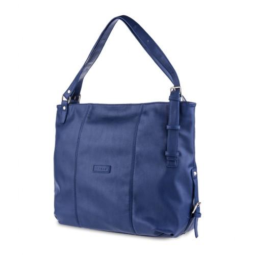 Women's Oversized Side Buckle Detail Tote Shoulder Bag - Steel Blue