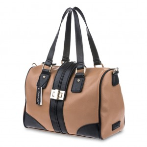 Women's Two Color PU Leather Medium Bowler Bag - Camel