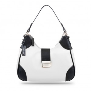 Women's Stylish Bi-color Single Shoulder Top Zip Hobo Bag - White