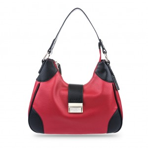 Women's Bi-color Single Shoulder Top Zip Hobo Bag - Red