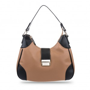 Women's Stylish Bi-color Single Shoulder Top Zip Hobo Bag - Camel
