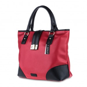 Zapals PU Leather Color-Block Tote Bag - Red