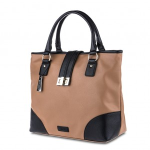 Women's Zapals PU Leather Color-Block Tote Bag - Camel