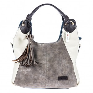 Women's Tri-color Tassel Detailing Hobo Bag - Blue Color