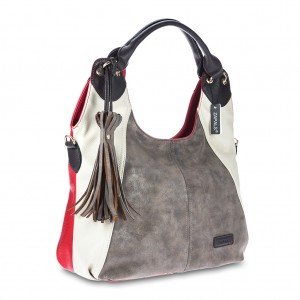 Women's Tri-color Tassel Detailing Hobo Bag - Red Color