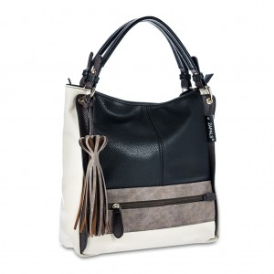 Women's Tri-color Tassel Detailing Hobo Tote - Black Color