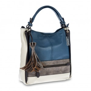 Women's Tri-color Tassel Detailing Hobo Tote - Blue Color
