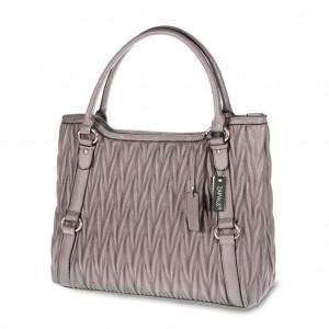 Women's Matelassé Double Handle Tote Handbag - Plum