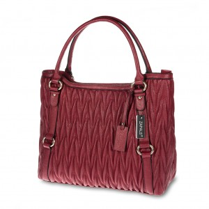 Matelassé Double Handle Tote Handbag - Red