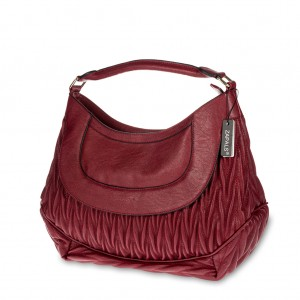 Matelassé Single Handle Hobo Bag - Burgundy
