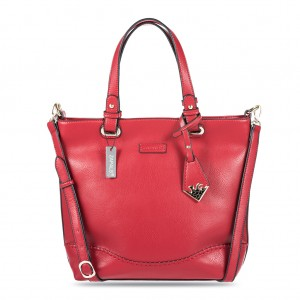 Women's PU Leather Large Shoulder Tote Bag - Red