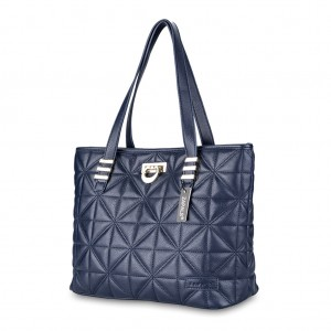 Classic Quilted PU Leather Tote Shoulder Bag - Navy