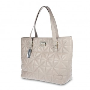 Classic Quilted PU Leather Tote Shoulder Bag - Light Taupe