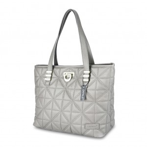 Classic Quilted PU Leather Tote Shoulder Bag - Gray