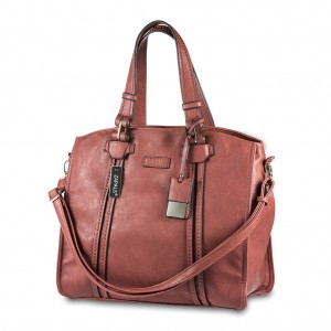 Women's Ladies' Zapals PU Leather Oversized Shoulder Tote Bag - Rusty Red