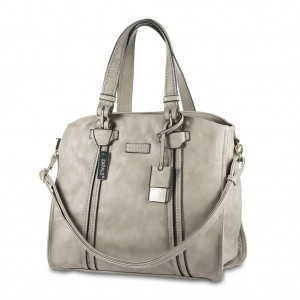 Zapals PU Leather Oversized Shoulder Tote Bag - Light Taupe