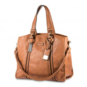 Women's Ladies' Zapals PU Leather Oversized Shoulder Tote Bag - Camel