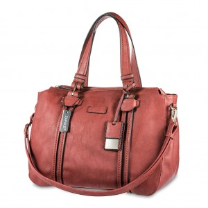 Zapals Women PU Leather Bowler Shaped Tote Bag - Rust