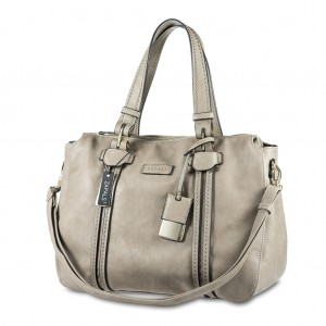Zapals Women's PU Leather Bowler Shaped Tote Bag - Light Taupe