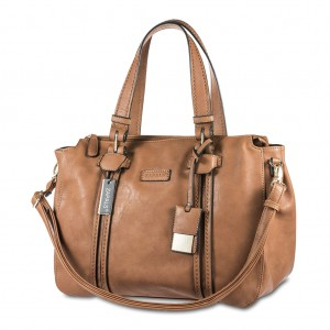Zapals Women's PU Leather Bowler Shaped Tote Bag - Camel