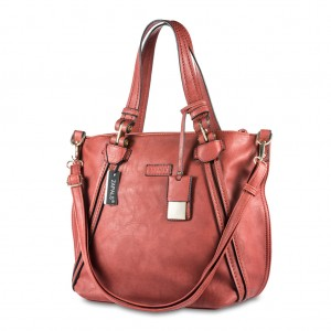 Zapals PU Leather Double Handle Tote Bag - Rust
