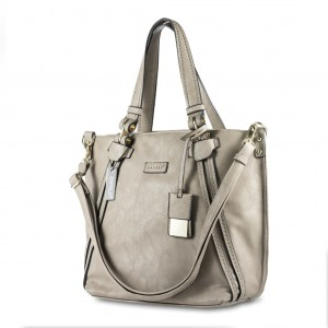 Women's Stylish Zapals PU Leather Double Handle Tote Bag - Light Taupe