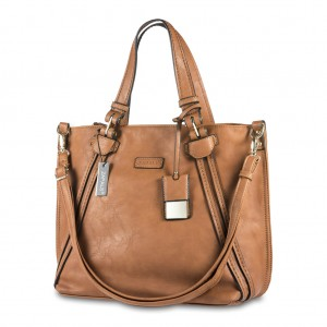 Zapals PU Leather Double Handle Tote Bag - Camel