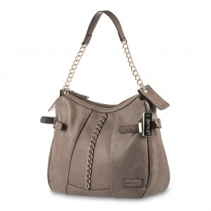 Women's Medium Shoulder Bag with Decorative Chain Detail - Taupe