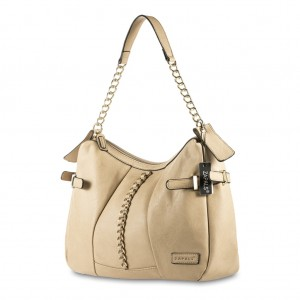 Women's Medium Shoulder Bag with Decorative Chain Detail - Beige