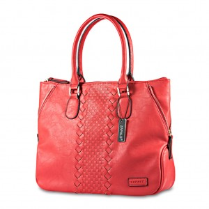 Side Zip Front Woven Detailing Shoulder Tote - Red