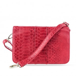 Convertible Croc-embossed Flap Over Shoulder Crossbody Clutch Bag - Red
