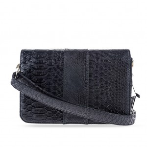 Convertible Croc-embossed Flap Over Shoulder Crossbody Clutch Bag - Black