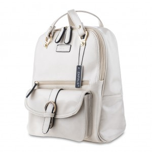 Women's PU Leather Convertible Backpack Shoulder Bag - Off White