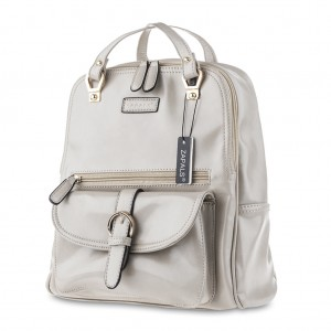Zapals PU Leather Convertible Backpack Shoulder Bag - Light Gray