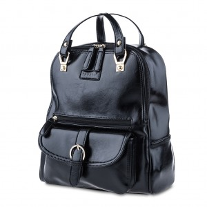 PU Leather Backpack Shoulder Bag - Black