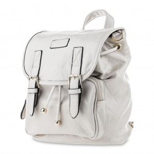 Convertible Belted PU Leather Backpack Shoulder Bag - Light Gray