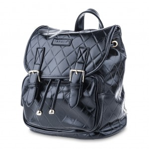 Convertible Belted PU Leather Backpack Shoulder Bag - Black