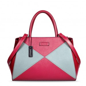 Winged Two Tone PU Leather Handbag - Red