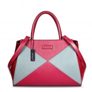 Winged Two Tone PU Leather Handbag - Red