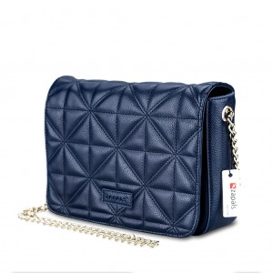 Women's Chain-Strap Quilted PU Leather Crossbody Shoulder Bag - Navy