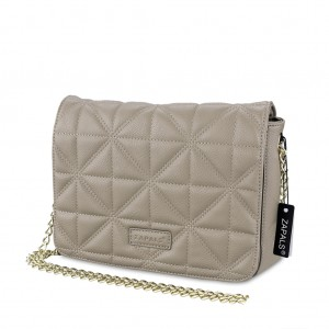 Chain-Strap Quilted PU Leather Crossbody Shoulder Bag - Light Taupe beige