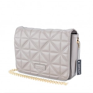 Chain-Strap Quilted PU Leather Crossbody Shoulder Bag - Gray