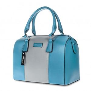 PU Leather Bowler Bag - Sea Blue