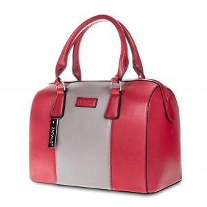 Stylish PU Leather Bowler Bag Handbag for Storage Red Colour