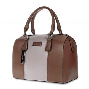 Stylish PU Leather Bowler Bag Handbag for Storage Brown Colour