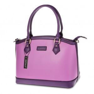 Two Tone Bowler Shaped Handbag - Lilac / Lavender