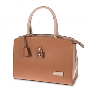 Two Tone Padlock Detailing Tote Handbag - Camel