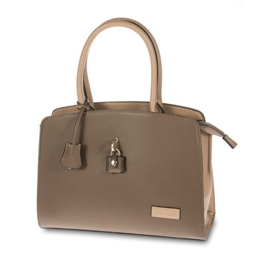 Two Tone Padlock Detailing Tote Handbag - Dark Beige