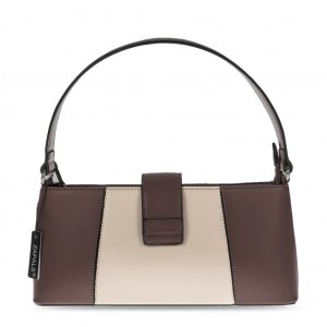 Women's PU Leather Elegant Grab Bag - Brown